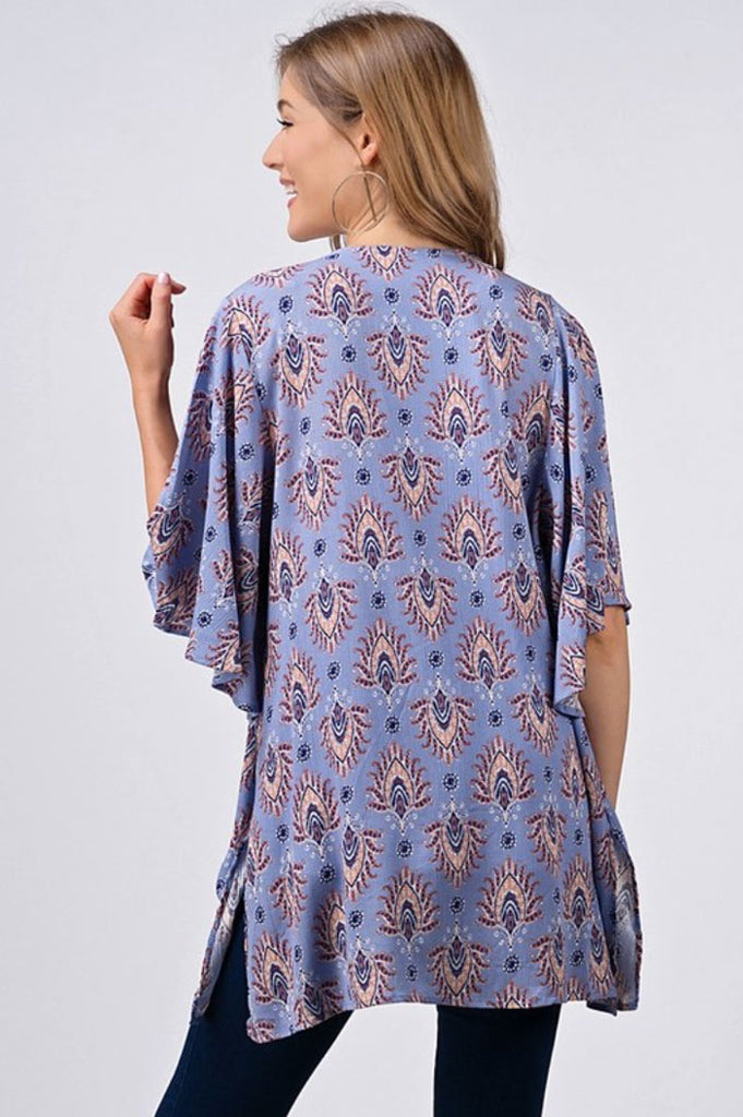 Cornflower Blue Paisley Print Kimono - Jade Creek Boutique