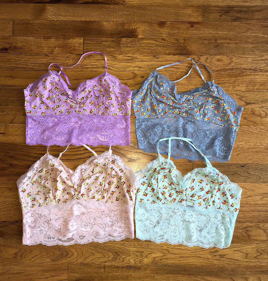 Floral Lace Bralette Tops, Four Colors - Jade Creek Boutique