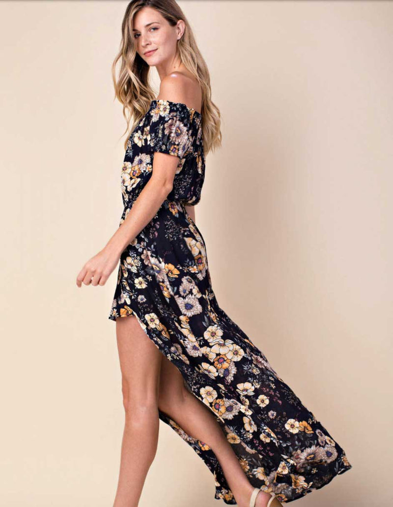 Floral Romper Split Maxi Combo - Jade Creek Boutique