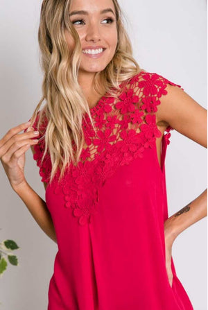 Fuchsia Crochet Lace Top - Jade Creek Boutique