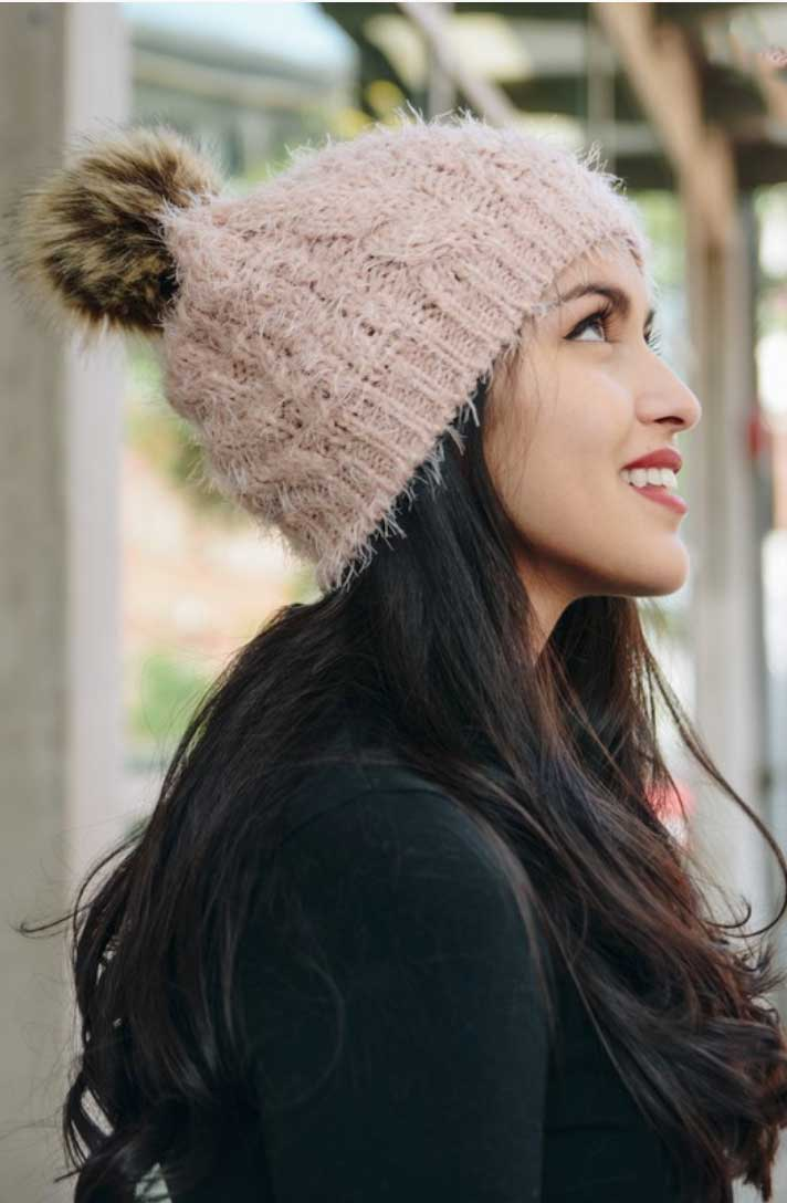 Fuzzy Blush Beanie - Jade Creek Boutique
