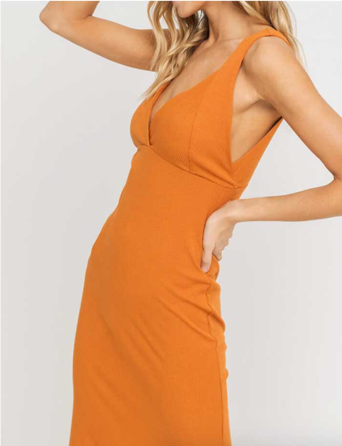 Honey Ginger Ribbed Dress - Jade Creek Boutique