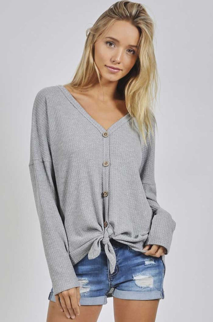 Gray Waffle Knit Knotted Top - Jade Creek Boutique