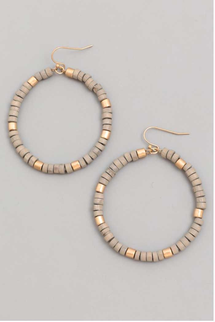Gray Wood Bead Hoops - Jade Creek Boutique