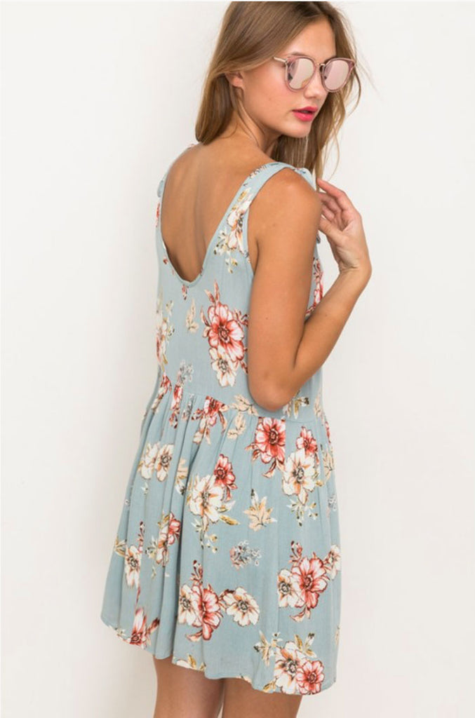 Mint Floral Print Shoulder Tie Dress - Jade Creek Boutique