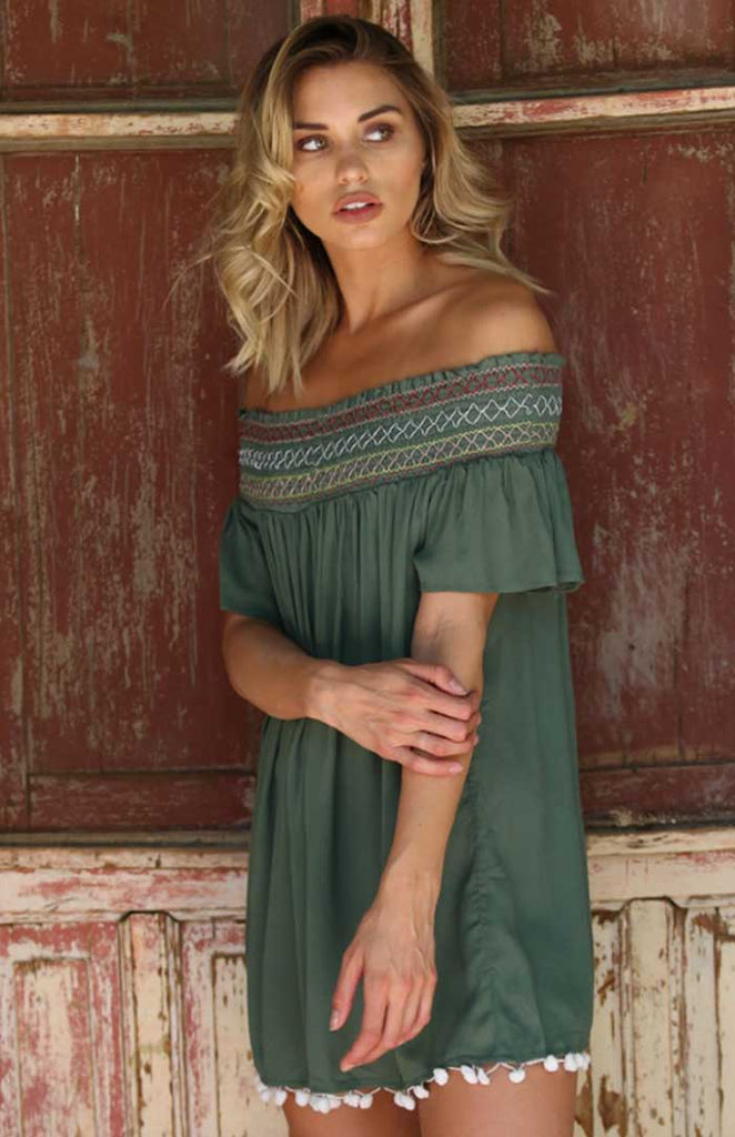 Moss Green Off Shoulder with Pom Trim - Jade Creek Boutique