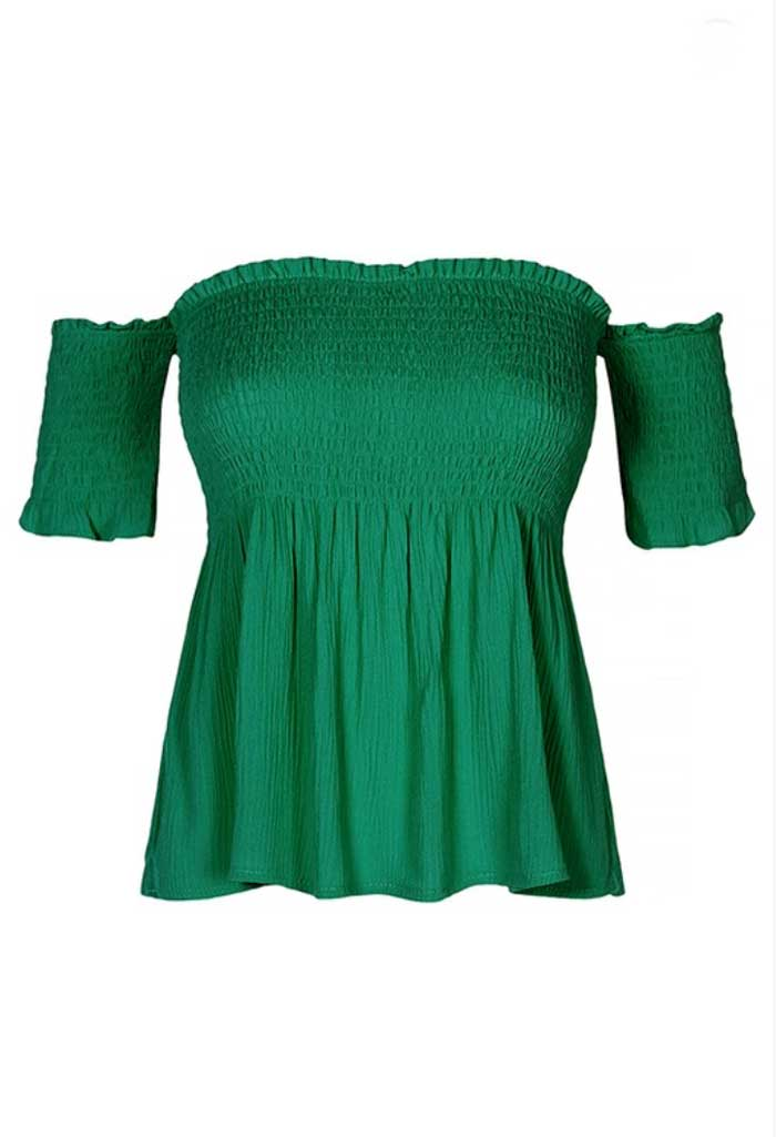 Smocked Bodice Off Shoulder Top, Two Colors - Jade Creek Boutique