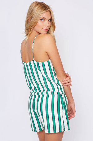 Striped Green Romper - Jade Creek Boutique