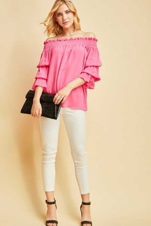 Fuchsia Tiered Sleeve Off Shoulder - Jade Creek Boutique