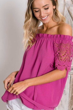 Crochet n Lace Off Shoulder Top - Jade Creek Boutique