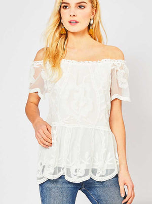 Ivory Lace Scallop Hem Top - Jade Creek Boutique