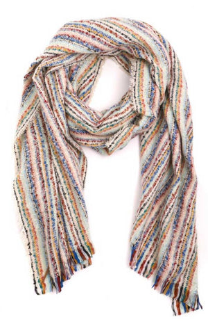 Ivory Multicolor Striped Scarf - Jade Creek Boutique
