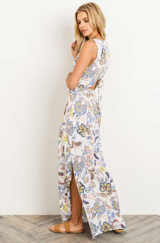 Ivory Embroidered Vibrant Floral Dress