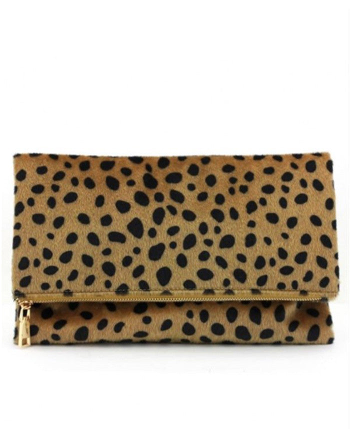 Leopard Fold Over Clutch - Jade Creek Boutique