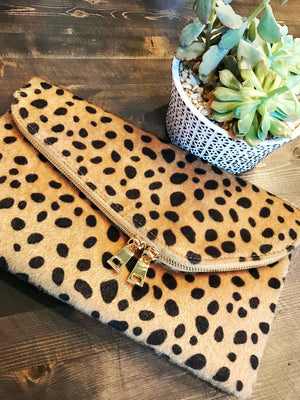 Leopard Asymmetrical Fold Clutch Crossbody RESTOCKED! - Jade Creek Boutique