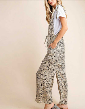 Leopard Knot Strap Overalls