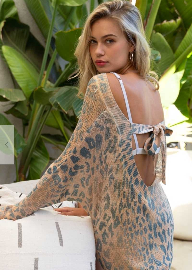 Leopard Print Tie Back Top