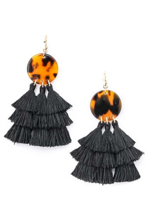 Abstract Leopard Tassel Earrings, Two Colors - Jade Creek Boutique