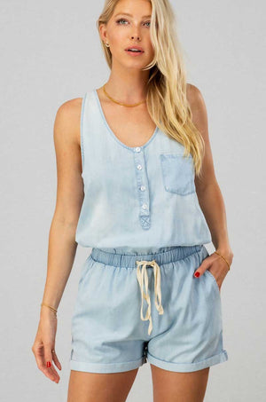 RESTOCKED! Vintage Wash Denim Romper