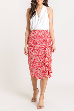 Side Split Floral Ruffle Skirt - RESORT COLLECTION - Jade Creek Boutique