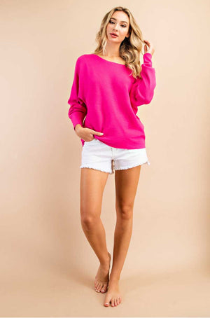 Fuchsia Ribbed Lightweight Sweater