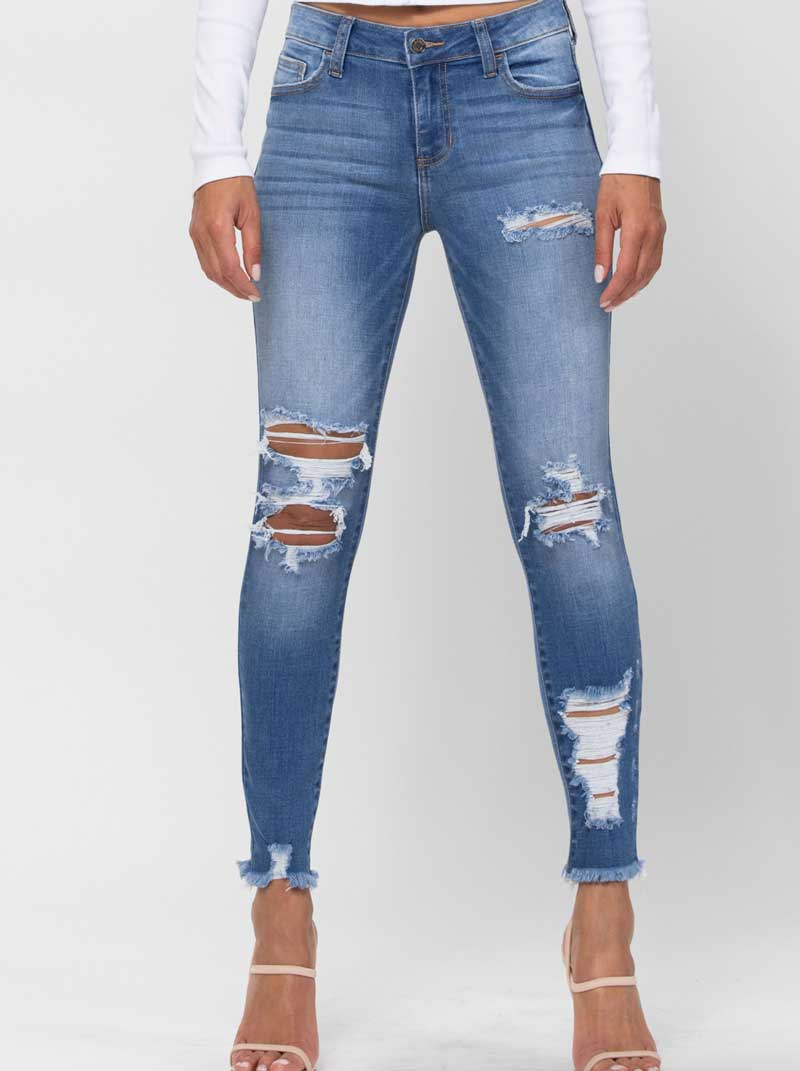 Destructed Medium Wash Jeans