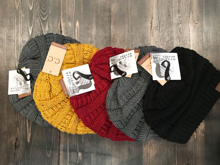 CC Messy Bun Beanie, Multiple Colors - Jade Creek Boutique