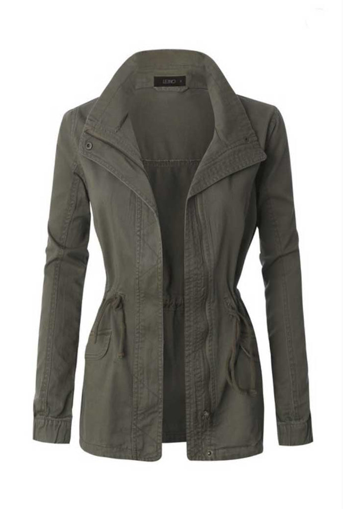 Military Green Anorak Jacket - Jade Creek Boutique