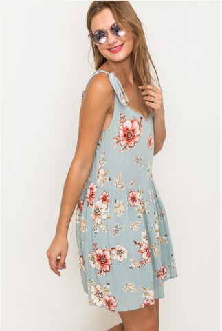 Persimmon Floral Print Sleeveless Dress