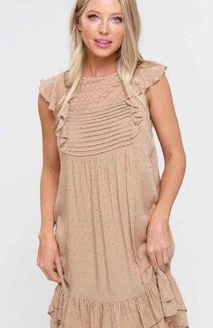 Champagne Lace Ruffle Dress - Jade Creek Boutique