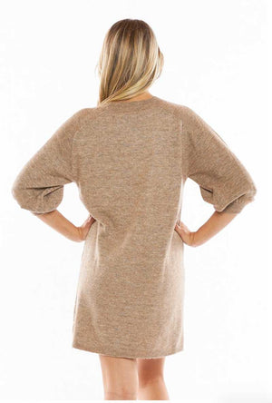 Camel Puff Sleeve Dress