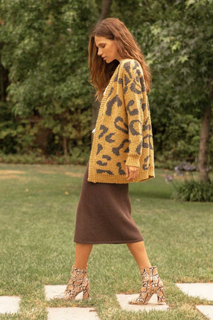 Honey Gold Leopard Print Cardigan