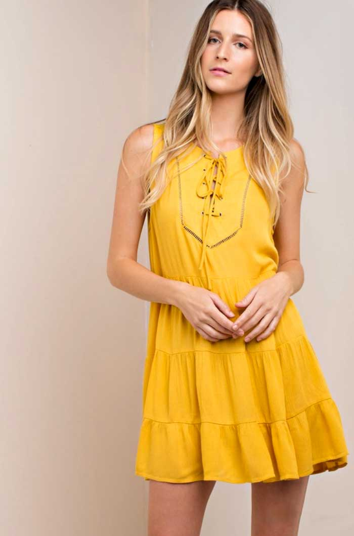 Mustard Lace Up Dress - Jade Creek Boutique