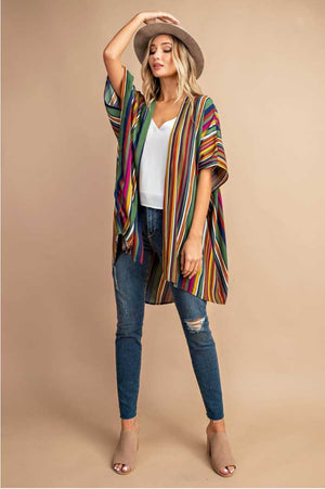 Multicolor Striped Kimono - Jade Creek Boutique