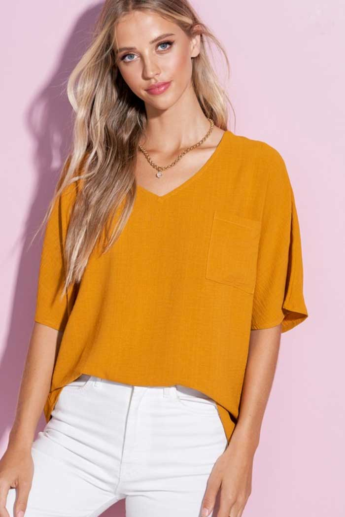 V Neck Crumble Flare Sleeve Top, Two Colors - Jade Creek Boutique
