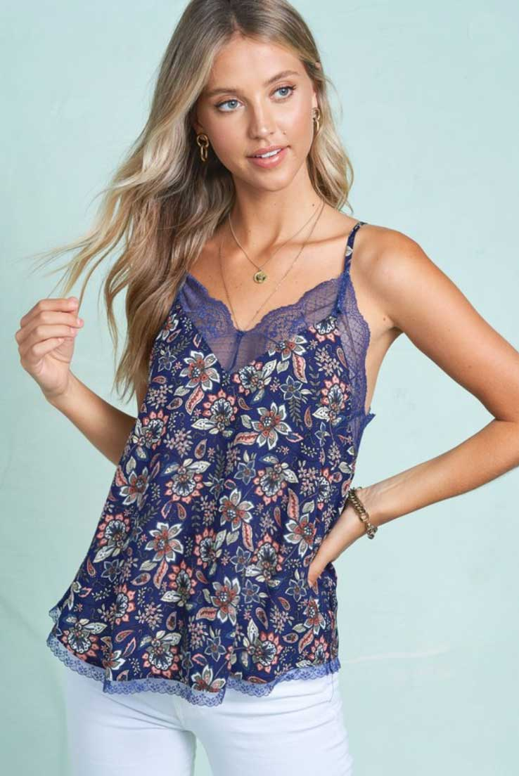 Floral Lace Trim Layering Cami