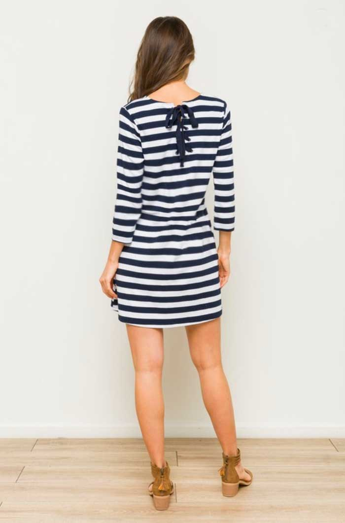 Nautical Lace Up Dress - Jade Creek Boutique
