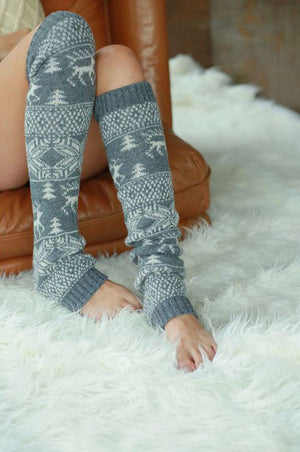 Cozy Nordic Snowflake Reindeer Legwarmers, 4 Colors - Jade Creek Boutique