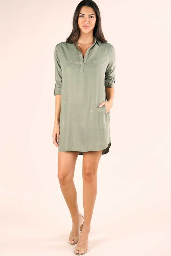 Olive Denim Tencel Shirtdress - Jade Creek Boutique
