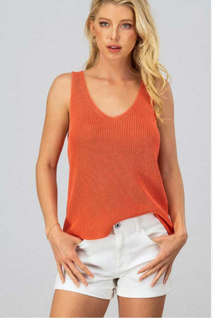 Coral Orange Knit Top - Jade Creek Boutique