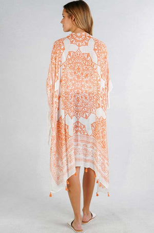 Ginger Orange Medallion Print Kimono - Jade Creek Boutique