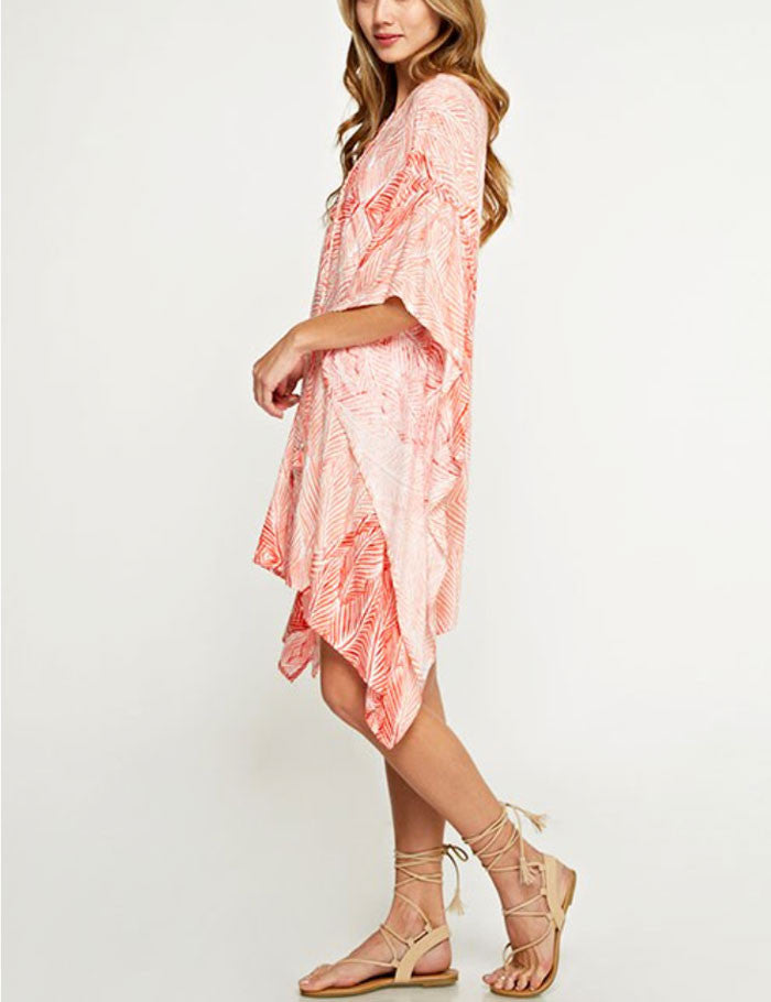 Coral Leaf Print Cover Up - Jade Creek Boutique