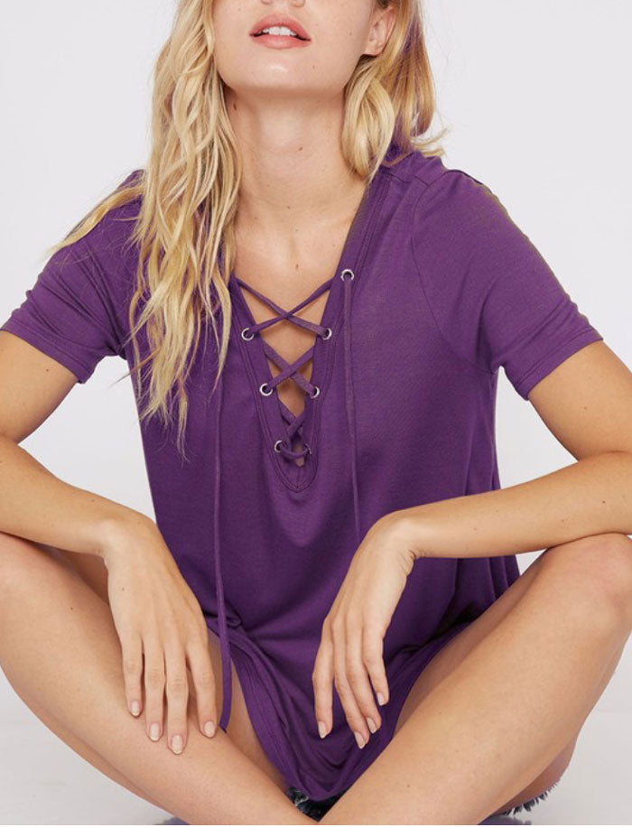 Solid Lace Up Top, 3 Colors - Jade Creek Boutique