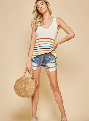 Multicolor Striped Knit Tank - Jade Creek Boutique