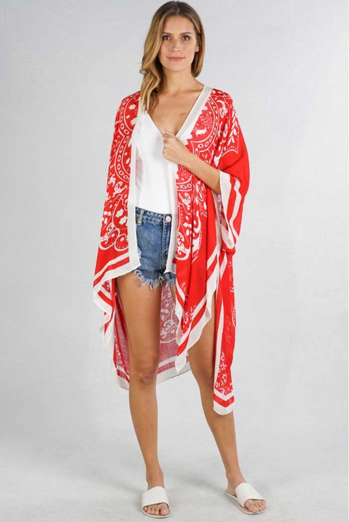 Red Medallion Bohemian Kimono - Jade Creek Boutique