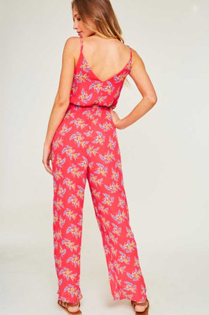 Cherry Red Floral Jumpsuit - Jade Creek Boutique