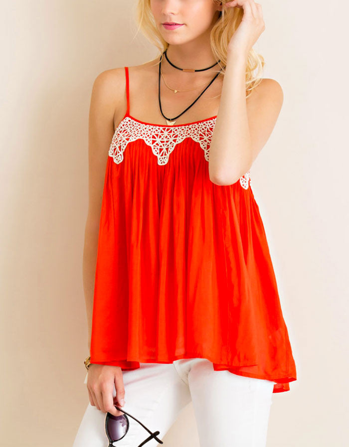 Festival Tank with Crochet Detail - Jade Creek Boutique