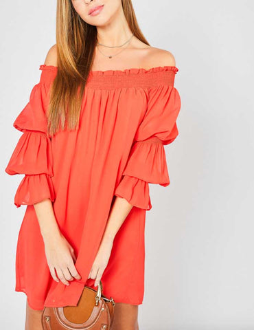 Rouge Embroidered Open Sleeve Dress