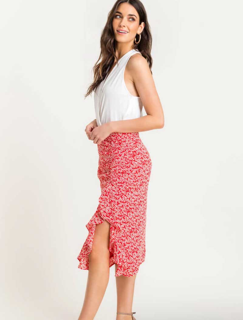 Side Split Floral Ruffle Skirt - RESORT COLLECTION