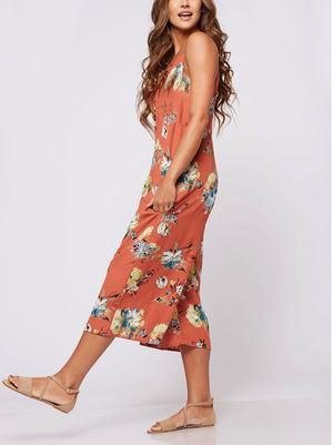 Copper Floral Crop Jumpsuit - Jade Creek Boutique